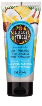 Farmona Tutti Frutti Pineapple & Coconut Loțiune exfoliantă pentru duș 2 in 1