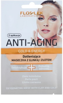 FlosLek Laboratorium Anti-Aging Gold & Energy okysličujúca maska so zlatom a ílom