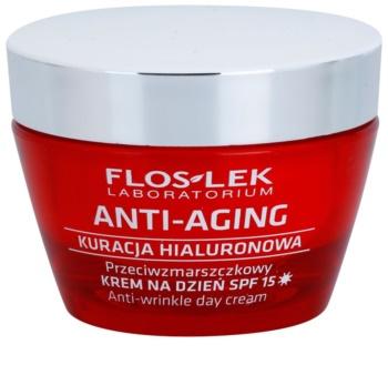 FlosLek Laboratorium Anti-Aging Hyaluronic Therapy dnevna vlažilna krema proti staranju kože SPF 15