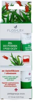 FlosLek Pharma Eye Care gel za predel okoli oči s smetilko in aloe vero