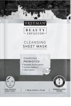 Freeman Beauty Infusion Charcoal + Probiotics čistiaca látková maska s aktívnym uhlím pre všetky typy pleti