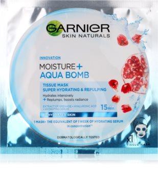 Garnier Skin Naturals Moisture+Aqua Bomb máscara têxtil perfeita para hidratação e preenchimento para rosto