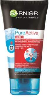 Garnier Pure Active tratament purificator împotriva punctelor negre, cu cărbune activ 3 în 1 pentru ten gras si problematic