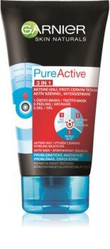 Garnier Pure Active masque noir pour le visage contre les points noirs et l'acné, avec du charbon actif 3 en 1
