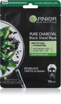 Garnier Skin Naturals Pure Charcoal črna tekstilna maska z izvlečkom črnega čaja