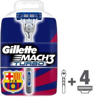 Gillette Mach 3 Turbo FCBarcelona holiaci strojček náhradné čepieľky 4 ks