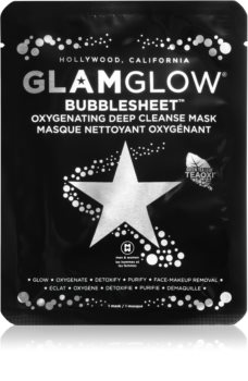 Glam Glow Bubblesheet cleansing face sheet mask with activated charcoal with Brightening Effect