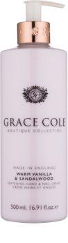 Grace Cole Boutique Warm Vanilla & Sandalwood creme amaciador para mãos e unhas