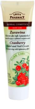 Green Pharmacy Hand Care Cranberry hydratační krém na ruce a nehty s rozjasňujícím účinkem