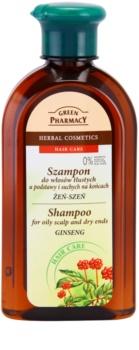 Green Pharmacy Hair Care Ginseng Shampoo für fettige Haare und trockene Haarspitzen