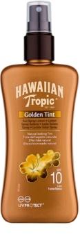 Hawaiian Tropic Golden Tint ochranné tělové mléko ve spreji SPF 10