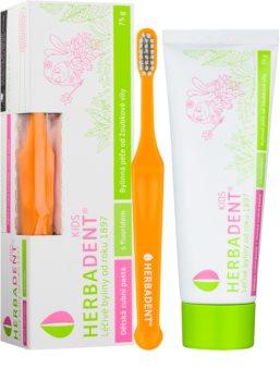 Herbadent Kids pasta de dinti pentru copii cu fluor + perie