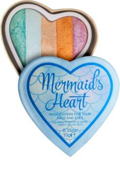 I Heart Revolution Mermaids Heart rozjasňovač na oči a tvár