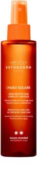 Institut Esthederm Sun Care óleo solar para corpo e cabelo com proteção UV média
