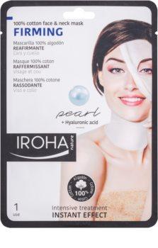 Iroha Firming Pearl bombažna maska za obraz in vrat z bisernim in hialuronskim serumom