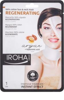 Iroha Regenerating Argan bavlněná maska na obličej a krk s arganovým olejem a kyselinou hyaluronovou