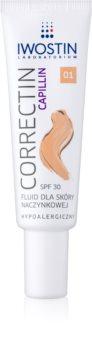 Iwostin Capillin Correctin стійкий тонуючий флюїд для шкіри обличчя схильної до почервонінь SPF 30