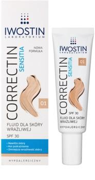 Iwostin Sensitia Correctin стійкий тонуючий заспокоюючий флюїд для чутливої та алергічної шкіри SPF 30