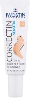 Iwostin Sensitia Correctin dolgotrajno prekrivni pomirjajoči fluid za občutljivo in alergično kožo SPF 30