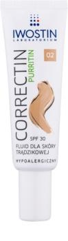 Iwostin Purritin Correctin fluide matifiant couverture longue tenue pour peaux acnéiques SPF 30