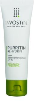 Iwostin Purritin Rehydrin Anti-Faltencreme für fettige Haut mit Neigung zu Akne