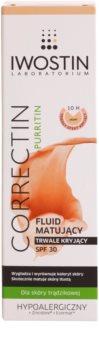 Iwostin Purritin Correctin стійкий тонуючий матуючий флюїд для шкіри з акне SPF 30