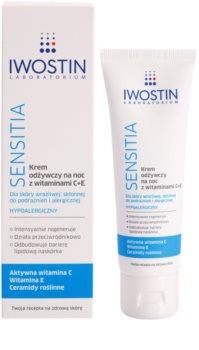 Iwostin Sensitia hranilna nočna krema z vitaminoma C in E za občutljivo in alergično kožo
