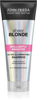 John Frieda Sheer Blonde Brilliantly Brighter σαμπουάν για προστασία του χρώματος των ξανθών μαλλιών με λάμψη μαργαριταριών