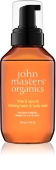 John Masters Organics Lime & Spruce pěnové mýdlo na ruce a tělo