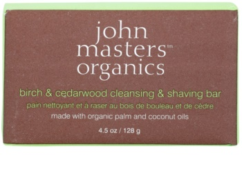 John Masters Organics Birch & Cedarwood  čisticí a holicí mýdlo pro muže i ženy