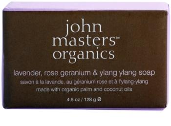 John Masters Organics Lavender Rose Geranium &  Ylang Ylang hydratačné mydlo na tvár a telo