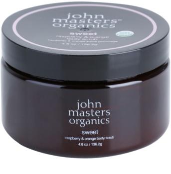 John Masters Organics Sweet Raspberry & Orange tělový peeling pro jemnou a hladkou pokožku