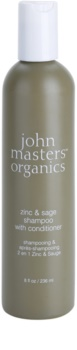 John Masters Organics Zinc & Sage šampon in balzam 2 v1 za razdraženo lasišče
