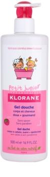 Klorane Junior gel de banho para corpo e cabelo com aromas de framboesas