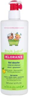 Klorane Junior gel de ducha para cabello y cuerpo con olor a pera