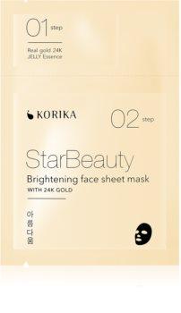 KORIKA StarBeauty mascarilla iluminadora en forma de hoja con oro de 24 quilates