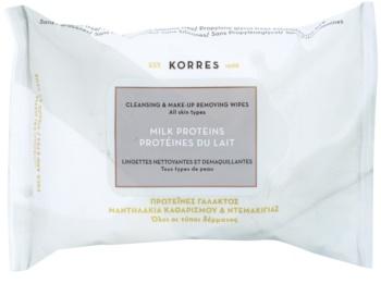 Korres Milk Proteins toalhetes de limpeza e desmaquilhantes