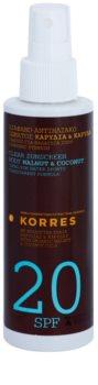 Korres Walnut & Coconut nicht-fettende Emulsion zum Bräunen SPF 20