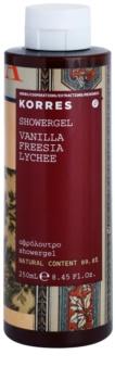 Korres Vanilla, Freesia & Lychee gel za prhanje za ženske 250 ml