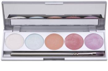 Kryolan Basic Face & Body paleta osvetljevalcev za obraz in telo 5 barv z ogledalom in aplikatorjem