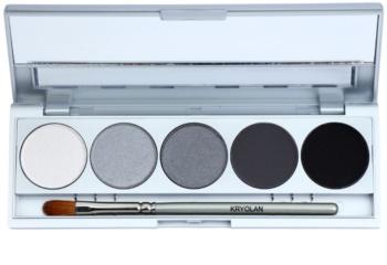 Kryolan Basic Eyes paleta očných tieňov 5 farieb so zrkadielkom a aplikátorom
