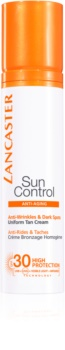 Lancaster Sun Control creme bronzeador para rosto com efeito antirrugas SPF 30