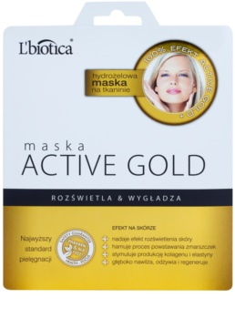 L'biotica Masks Active Gold hydrogelová plátýnková maska pro rozjasnění a vyhlazení pleti
