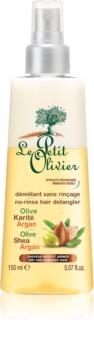 Le Petit Olivier Olive, Shea & Argan bezoplachový kondicionér ve spreji pro suché a poškozené vlasy