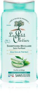 Le Petit Olivier Aloe Vera & Green Tea shampoing micellaire pour cheveux normaux à gras