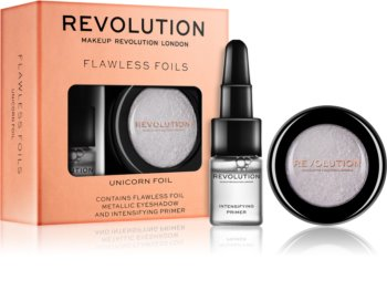 Makeup Revolution Flawless Foils Metallic Eyeshadow with Eyeshadow Base