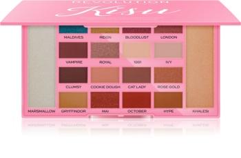 Makeup Revolution X Kisu paleta očných tieňov a rozjasňovačov