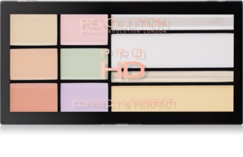 Makeup Revolution Pro HD Correct & Perfect paleta korektorů s rozjasňovačem