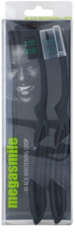 Megasmile Black Whitening Loop erős markolatú fogkefe aktív szénnel
