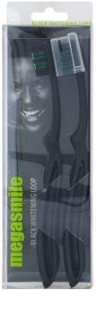 Megasmile Black Whitening Loop zubná kefka s aktívnym uhlím s pevnou rukoväťou